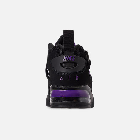 Back view of Men's Nike Air Force Max CB Basketball Shoes in Black/Court Purple/White/Total Orange
