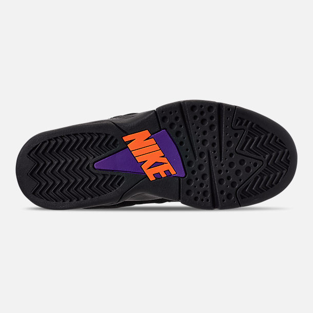 Bottom view of Men's Nike Air Force Max CB Basketball Shoes in Black/Court Purple/White/Total Orange