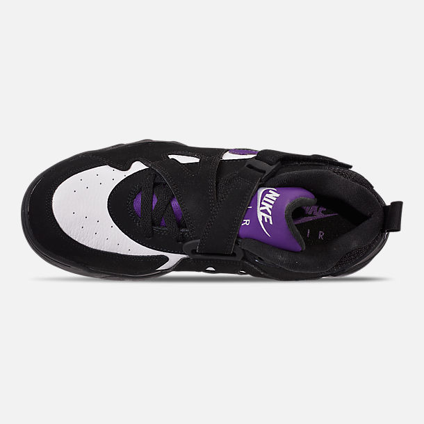 Top view of Men's Nike Air Force Max CB Basketball Shoes in Black/Court Purple/White/Total Orange