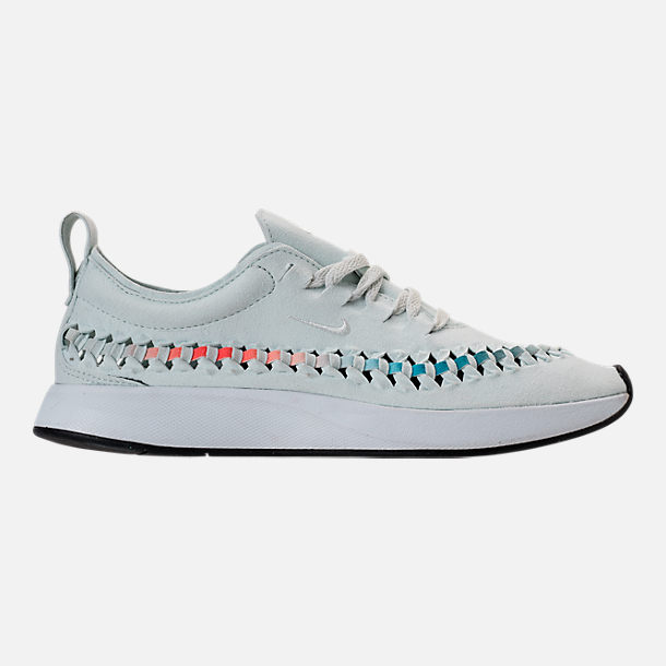 Right view of Women's Nike Dualtone Racer Woven Casual Shoes in Barley Green/Deep Jungle/Rush Coral