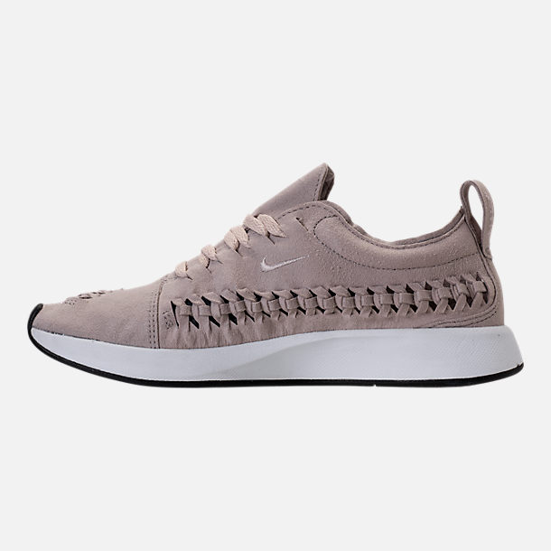 Left view of Women's Nike Dualtone Racer Woven Casual Shoes in Moon Particle/Moon Particle