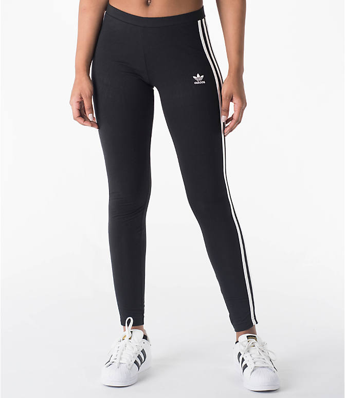 Front view of Women's adidas Originals 3-Stripes Leggings in Black/White