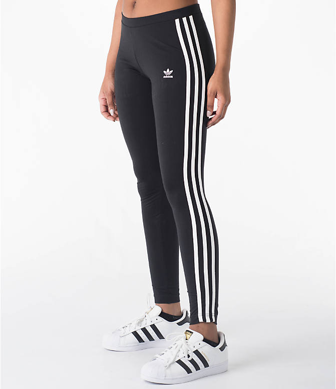 Front Three Quarter view of Women's adidas Originals 3-Stripes Leggings in Black/White