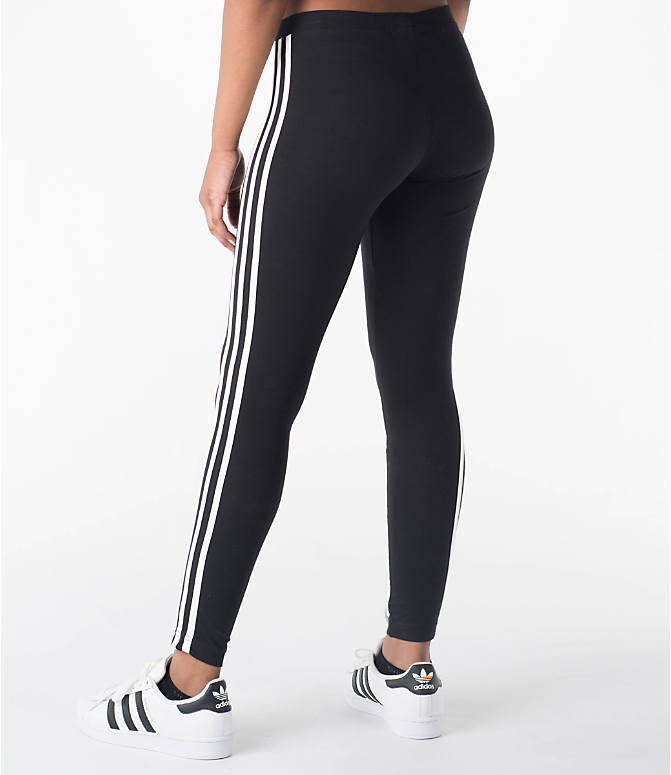 Back Left view of Women's adidas Originals 3-Stripes Leggings in Black/White