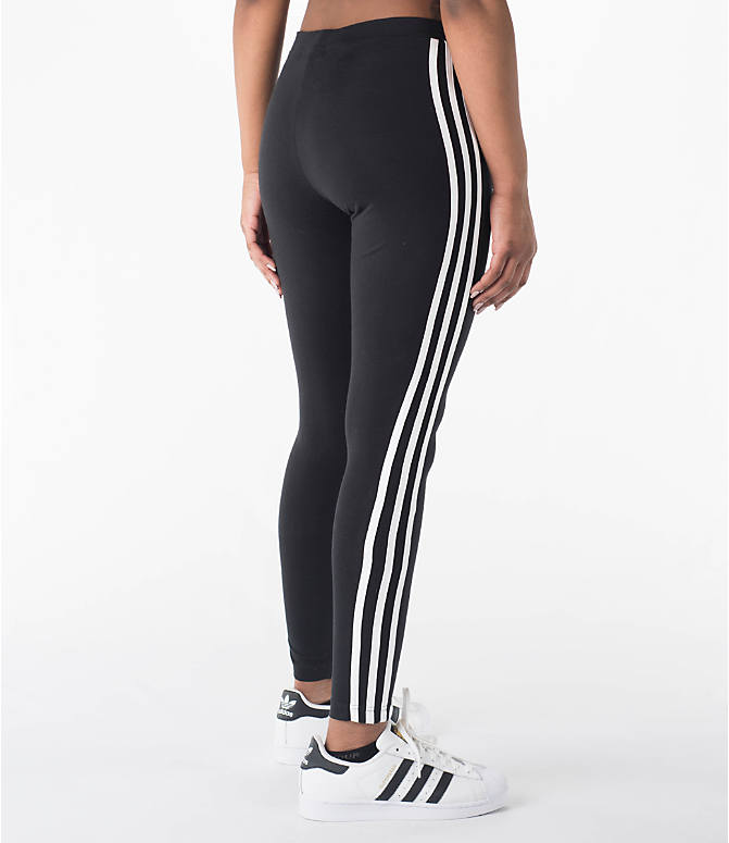 Back Right view of Women's adidas Originals 3-Stripes Leggings in Black/White