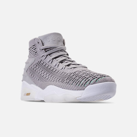 Three Quarter view of Men's Air Jordan Flyknit Elevation 23 Basketball Shoes in Atmosphere Grey