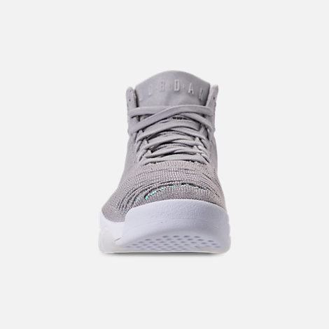 Front view of Men's Air Jordan Flyknit Elevation 23 Basketball Shoes in Atmosphere Grey