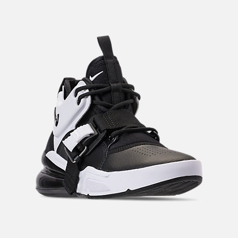 Three Quarter view of Big Kids' Nike Air Force 270 Casual Shoes in Black/White/Anthracite