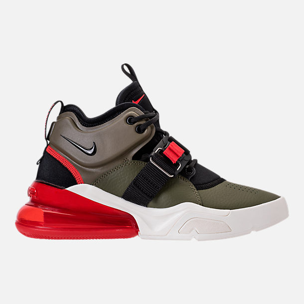 Right view of Kids' Grade School Nike Air Force 270 Casual Shoes in Medium Olive/Black/Total Orange