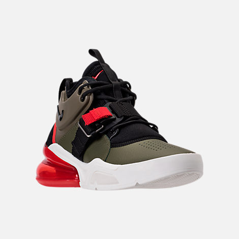Three Quarter view of Kids' Grade School Nike Air Force 270 Casual Shoes in Medium Olive/Black/Total Orange