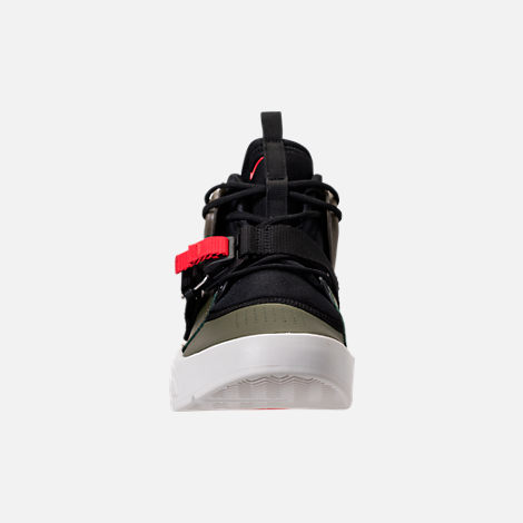 Front view of Kids' Grade School Nike Air Force 270 Casual Shoes in Medium Olive/Black/Total Orange
