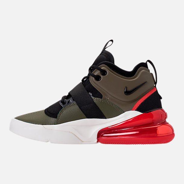 Left view of Kids' Grade School Nike Air Force 270 Casual Shoes in Medium Olive/Black/Total Orange