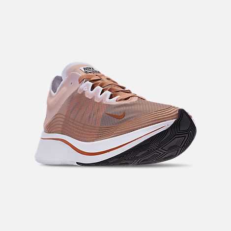 Three Quarter view of Women's Nike Zoom Fly SP Running Shoes in Dusty Peach/Guava Ice