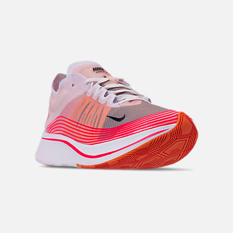 Three Quarter view of Women's Nike Zoom Fly SP Running Shoes in Varsity Red/Black/Summit White