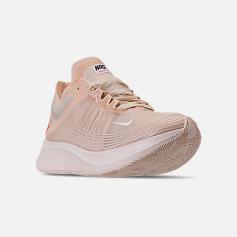 Three Quarter view of Women's Nike Zoom Fly SP Running Shoes in Guava Ice/White/Guava Ice