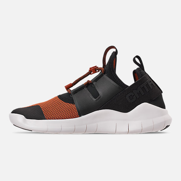Left view of Men's Nike Free RN Commuter 2018 Premium Running Shoes in Black/Black/Dark Russet/Sail