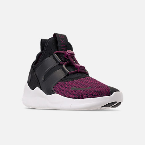 Three Quarter view of Women's Nike Free RN Commuter 2018 Premium Running Shoes in Black/Black/Bordeaux/Sail