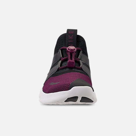 Front view of Women's Nike Free RN Commuter 2018 Premium Running Shoes in Black/Black/Bordeaux/Sail