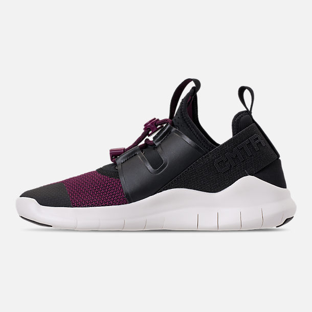 Left view of Women's Nike Free RN Commuter 2018 Premium Running Shoes in Black/Black/Bordeaux/Sail