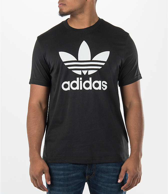 Front view of Men's adidas Originals Trefoil T-Shirt in Black