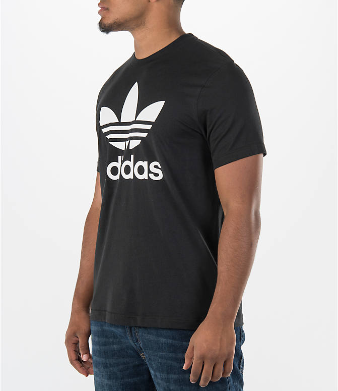 Front Three Quarter view of Men's adidas Originals Trefoil T-Shirt in Black