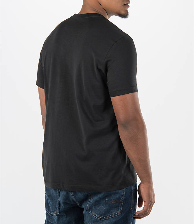 Back Right view of Men's adidas Originals Trefoil T-Shirt in Black
