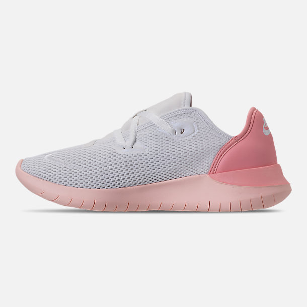 Left view of Women's Nike Hakata Casual Shoes in White/Bleached Coral/Sunset Tint