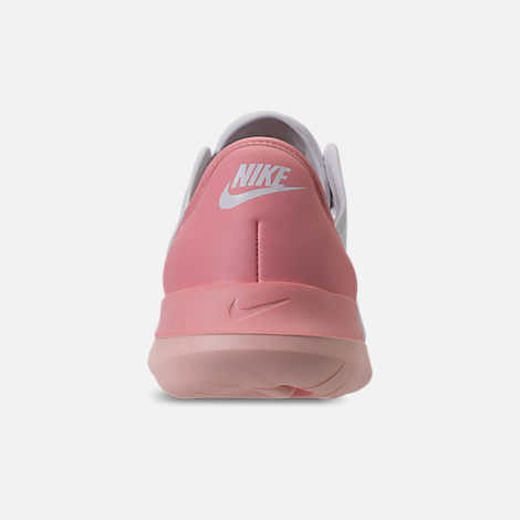 Back view of Women's Nike Hakata Casual Shoes in White/Bleached Coral/Sunset Tint
