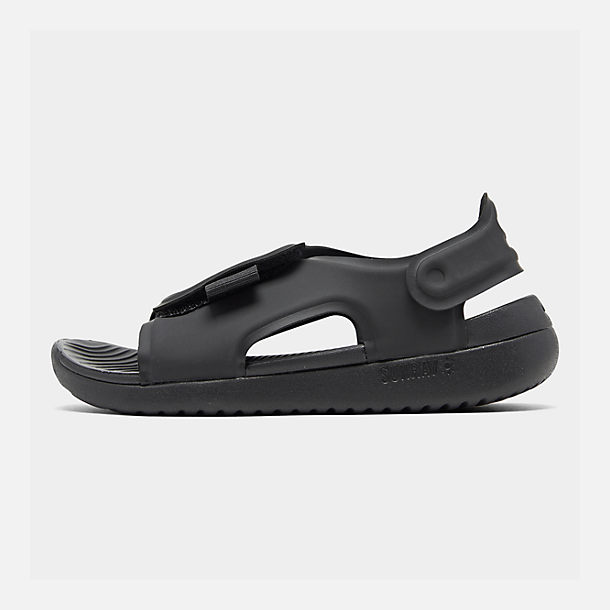 Right view of Boys' Little Kids' Nike Sunray Adjust 5 Sandals in Black/White