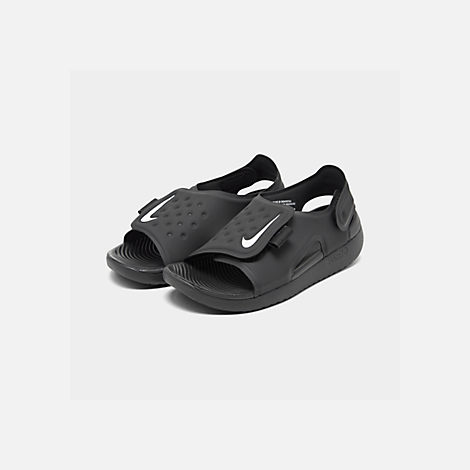 Three Quarter view of Boys' Little Kids' Nike Sunray Adjust 5 Sandals in Black/White