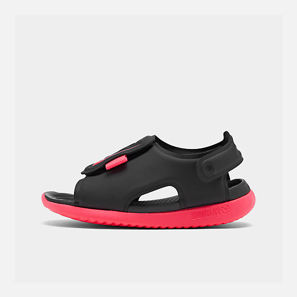 3917df529d99b9 Right view of Girls  Toddler Nike Sunray Adjust 5 Sandals in Black Racer  Pink