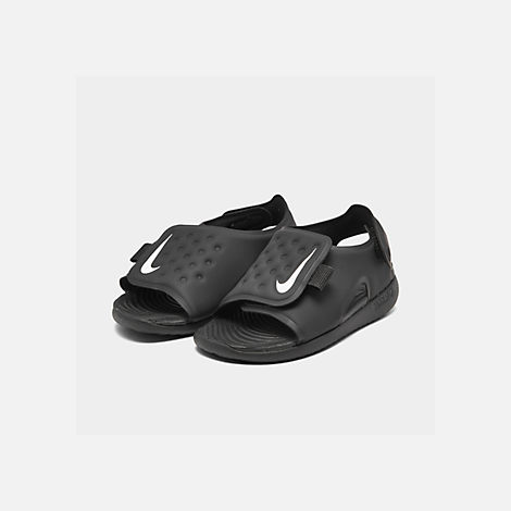 3ded17b59393 Three Quarter view of Boys  Toddler Nike Sunray Adjust 5 Sandals in  Black White