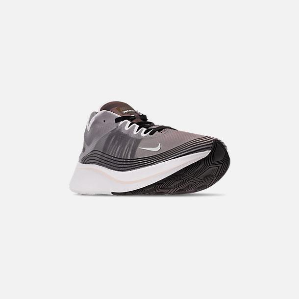 super popular 596d4 70ba5 Three Quarter view of Unisex Nike Zoom Fly SP Running Shoes in Black Light  Bone
