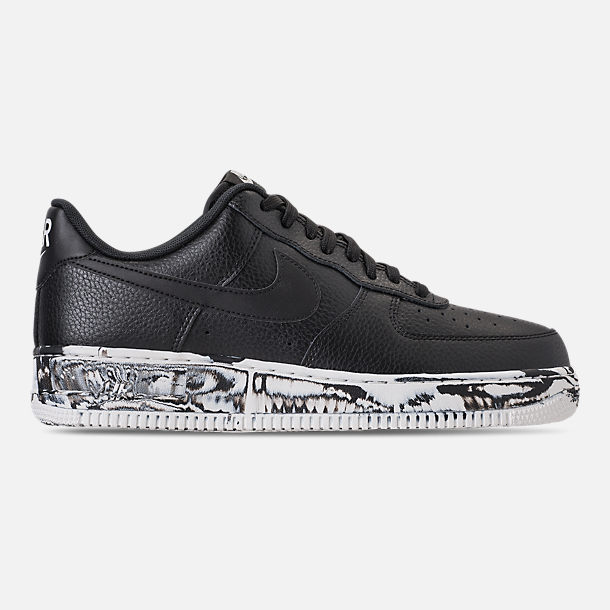 Right view of Men's Nike Air Force 1 '07 LV8 Leather Casual Shoes in Black/Summit White