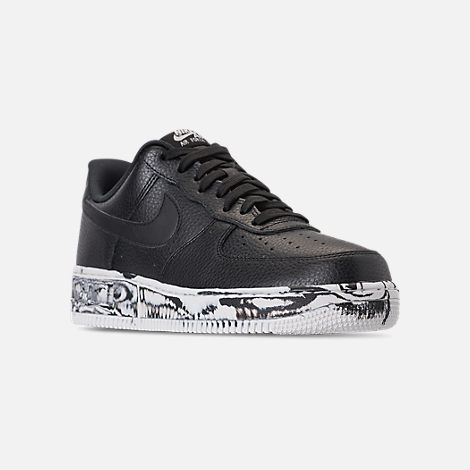 Three Quarter view of Men's Nike Air Force 1 '07 LV8 Leather Casual Shoes in Black/Summit White