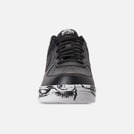 Front view of Men's Nike Air Force 1 '07 LV8 Leather Casual Shoes in Black/Summit White