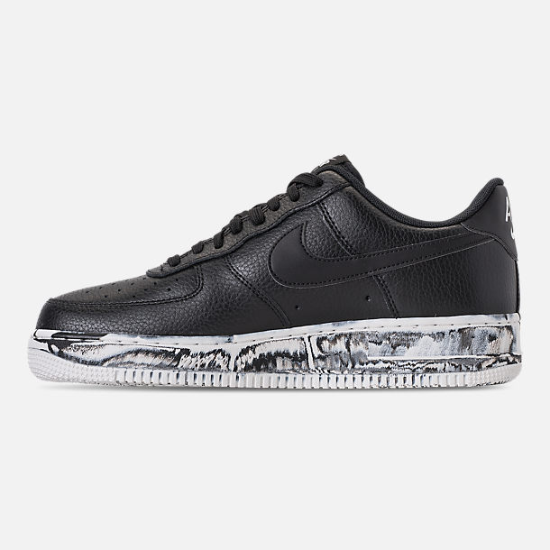 Left view of Men's Nike Air Force 1 '07 LV8 Leather Casual Shoes in Black/Summit White