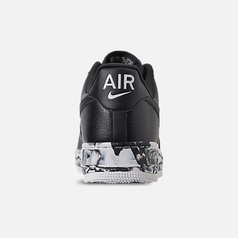 Back view of Men's Nike Air Force 1 '07 LV8 Leather Casual Shoes in Black/Summit White