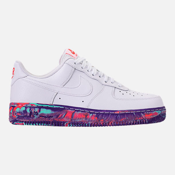 Right view of Men's Nike Air Force 1 '07 LV8 Leather Casual Shoes in Red/Summit White/Metallic Gold