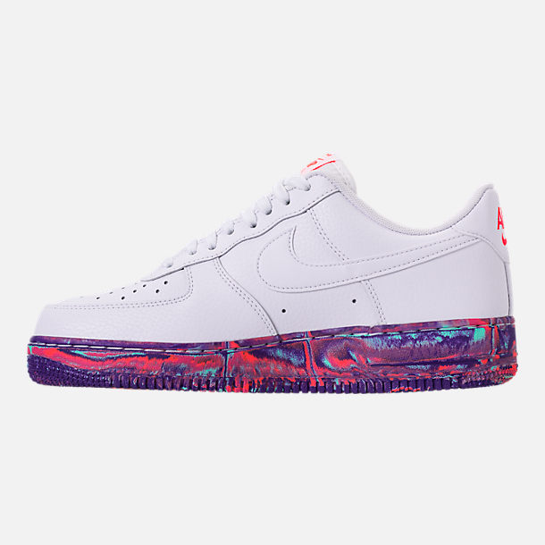 Left view of Men's Nike Air Force 1 '07 LV8 Leather Casual Shoes in Red/Summit White/Metallic Gold