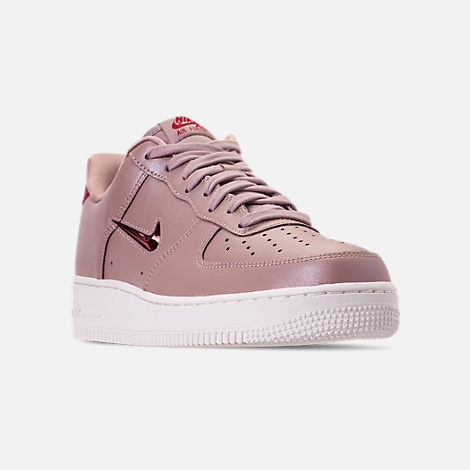 Three Quarter view of Men's Nike Air Force 1 '07 LV8 Leather Casual Shoes in Diffused Taupe/Red Crush/Summit White
