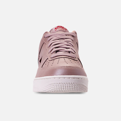 Front view of Men's Nike Air Force 1 '07 LV8 Leather Casual Shoes in Diffused Taupe/Red Crush/Summit White