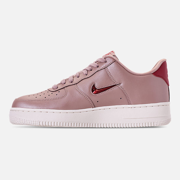 Left view of Men's Nike Air Force 1 '07 LV8 Leather Casual Shoes in Diffused Taupe/Red Crush/Summit White