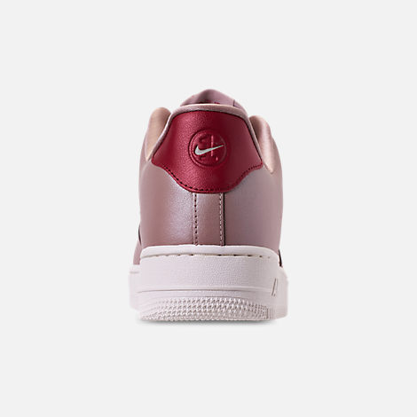 Back view of Men's Nike Air Force 1 '07 LV8 Leather Casual Shoes in Diffused Taupe/Red Crush/Summit White