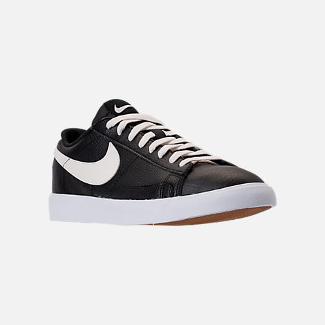 Three Quarter view of Men's Nike Blazer Low Leather Casual Shoes in Black/Sail/Gum