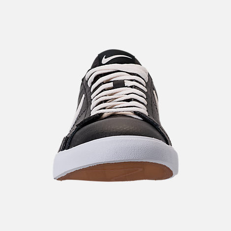Front view of Men's Nike Blazer Low Leather Casual Shoes in Black/Sail/Gum