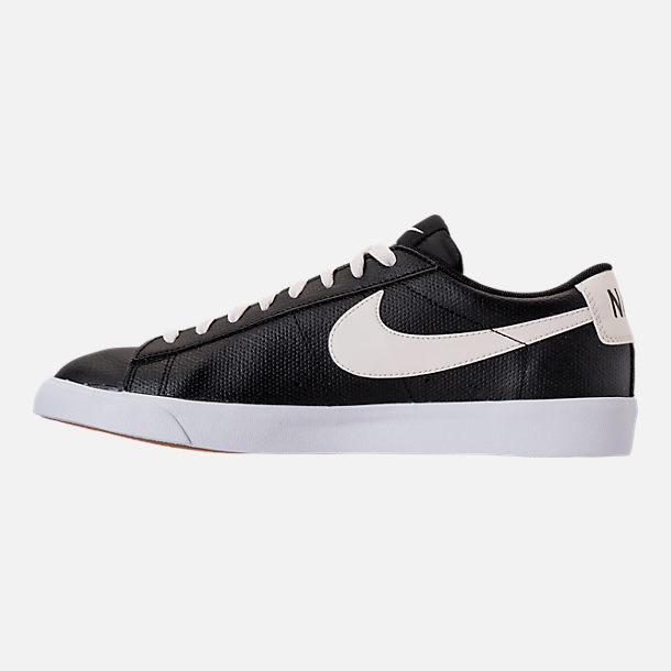 Left view of Men's Nike Blazer Low Leather Casual Shoes in Black/Sail/Gum