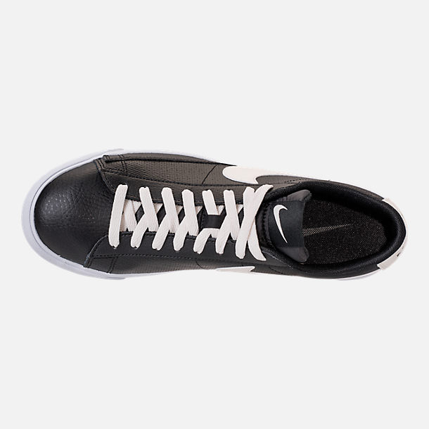 Top view of Men's Nike Blazer Low Leather Casual Shoes in Black/Sail/Gum