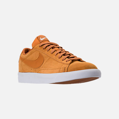Three Quarter view of Men's Nike Blazer Low Suede Casual Shoes in Desert Ochre/Sail