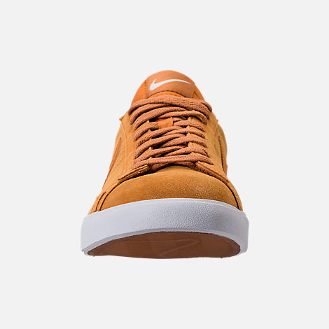 Front view of Men's Nike Blazer Low Suede Casual Shoes in Desert Ochre/Sail